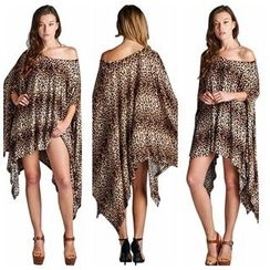 Hotprint - Leopard Asymmetric Hem Cape Dress