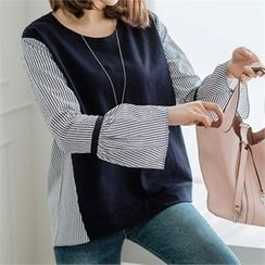 JOAMOM - Color-Bock Striped Top