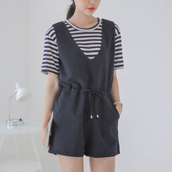 JUSTONE - Sleeveless Drawstring-Waist Playsuit