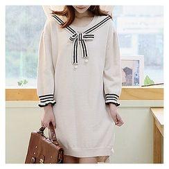 Sechuna - Tie-Front Dip-Back Knit Dress