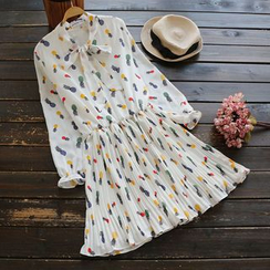 YOYO - Long-Sleeve Patterned Chiffon Dress