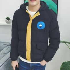 ZZP HOMME - Applique Hooded  Padded Jacket