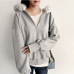 NIPONJJUYA - Faux-Fur Trim Brushed-Fleece Lined Hoodie
