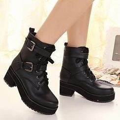 Mancienne - Buckled Short Boots