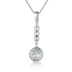 MaBelle - 14K/585 White Gold Ball with Diamond Cut Drop Necklace