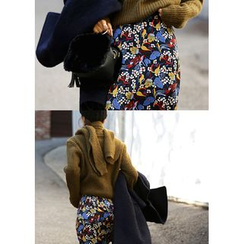 ssongbyssong - Band-Waist Floral Print Midi Skirt