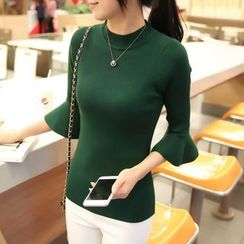 anzoveve - Flared Elbow-Sleeve Knit Top