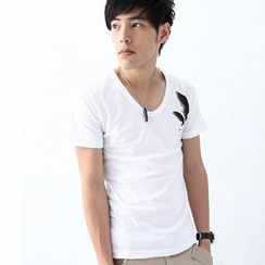 MR.PARK - Feather-Print V-Neck T-Shirt