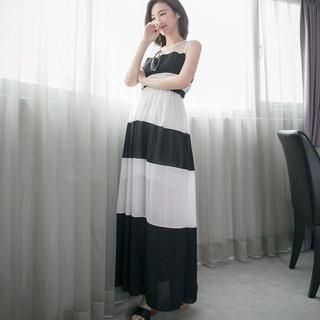LULUS - Tulle-Panel Striped Sleeveless Maxi Dress