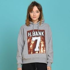 HappyTee - Sequined Hooded Pullover