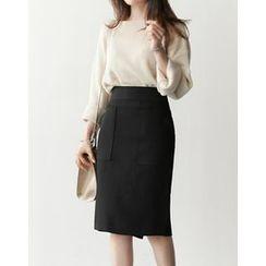 UPTOWNHOLIC - Pocket-Detail Midi Skirt