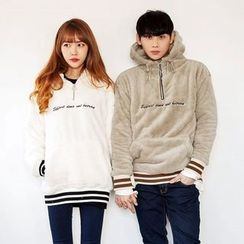 TOMONARI - Couple Lettering Hooded Fleece Anorak Pullover