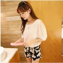 Dora - Puff Elbow-Sleeve Chiffon Top