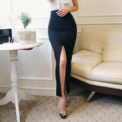DABAGIRL - Slit-Front Maxi Pencil Skirt