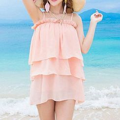 Isadora - 套裝: 幼肩帶雪紡上衣 + 多層雪紡短裙 + 長裙