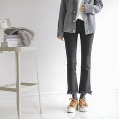 JUSTONE - Fringe-Hem Boot-Cut Jeans