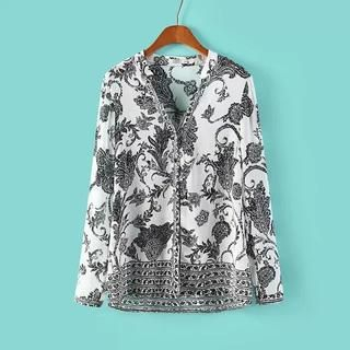 LULUS - Long-Sleeve Printed Chiffon Blouse