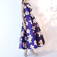 Royal Style - Floral Print Sleeveless Evening Gown