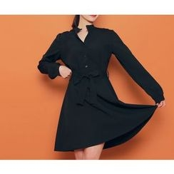 HOTPING - Open-Placket A-Line Shirtdress With Sash