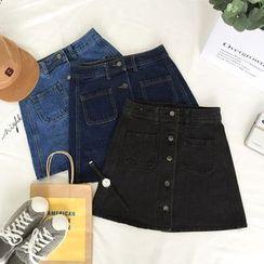 Dasim - Buttoned A-line Denim Skirt