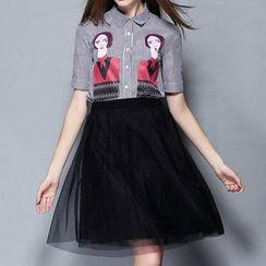 妮佳 - 套装: 中袖印花衬衫 + 薄纱拼接裙