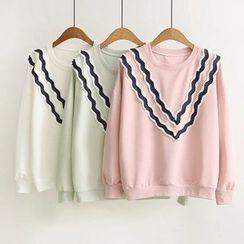 Musume - Pleated-Trim Long-Sleeve Top