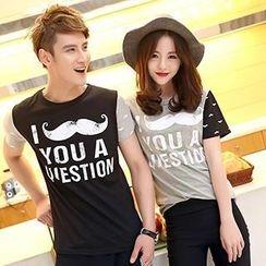 Azure - Couple Short Sleeves Lettering T-shirt / T-shirt Dress