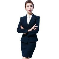 Aision - Buttoned Blazer / Blouse / Skirt