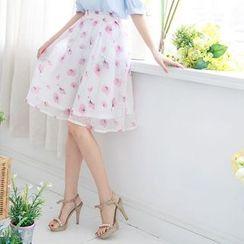 Tokyo Fashion - Floral Print A-Line Skirt