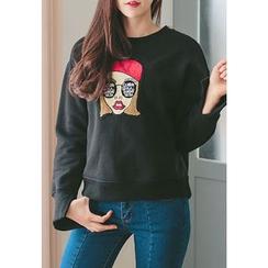 REDOPIN - Round-Neck Appliqué Pullover