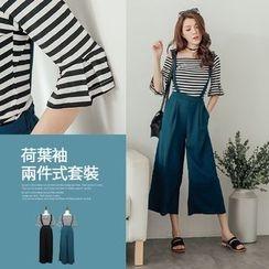 PUFII - Set: Off-Shoulder Striped Top + Suspender Pants