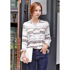 DEEPNY - Mandarin-Collar Patterned Shirt