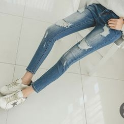 JUSTONE - Distressed Elastic Skinny Jeans