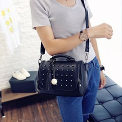 LineShow - Studded Tasseled Faux Leather Shoulder Bag