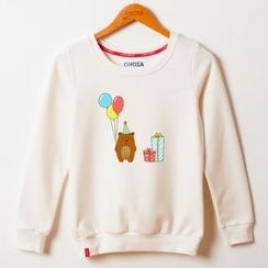 Onoza - Long-Sleeve Bear-Print Top