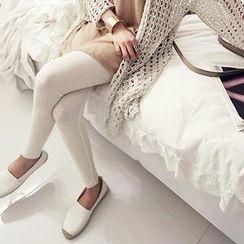 NANING9 - Cotton Blend Ribbed Leggings