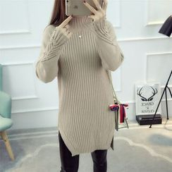 Dream Girl - Faux Pearl Side Slit Long Sweater