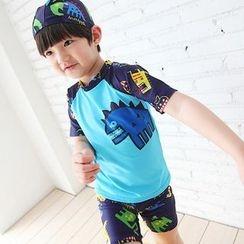 Aqua Wave - 儿童套装: 印花防晒衣 + 游泳短裤 + 泳帽
