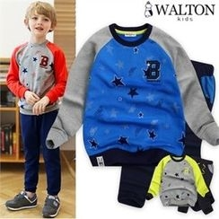 WALTON kids - Kids Set: Star-Pattern Raglan-Sleeve Top + Sweat Pants