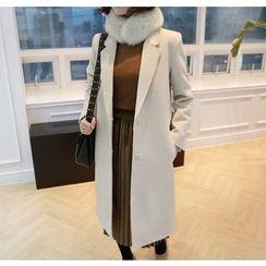 Miamasvin - Notched-Lapel Hidden-Button Coat