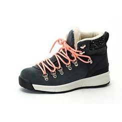 MODELSIS - Faux Fur-Trim Lace-Up Sneakers