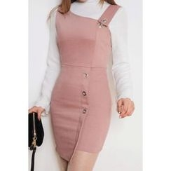 migunstyle - Button-Detail Asymmetric-Hem Suspender Dress