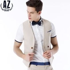 Antszone - Double-Buttoned Striped Vest
