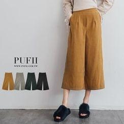 PUFII - 高腰打摺蜜桃絨寬褲