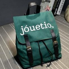 Crystal - Lettering Buckled Canvas Backpack