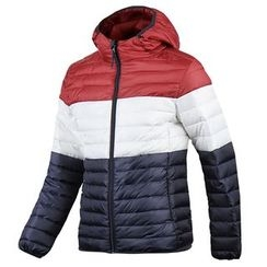 Seoul Homme - Hooded Color-Block Padded Jacket - Lightweight