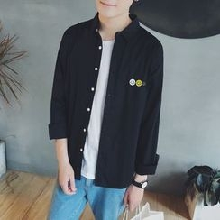 Soulcity - Smiley Embroidered Long-Sleeve Shirt
