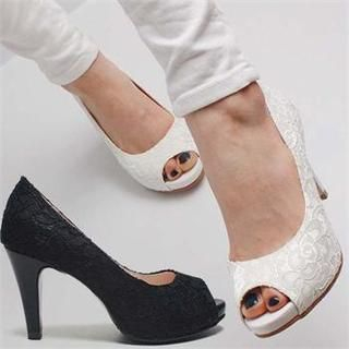 Reneve - Open-Toe Lace Pumps