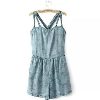 JVL - Printed Denim Playsuit