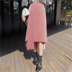 LIPHOP - Velvet Asymmetric-Hem Long Skirt